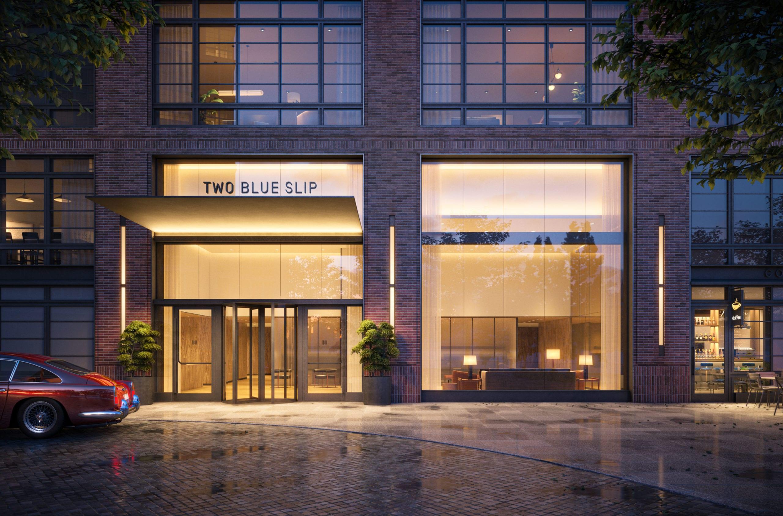 two blue slip greenpoint landing luxury rental entrance