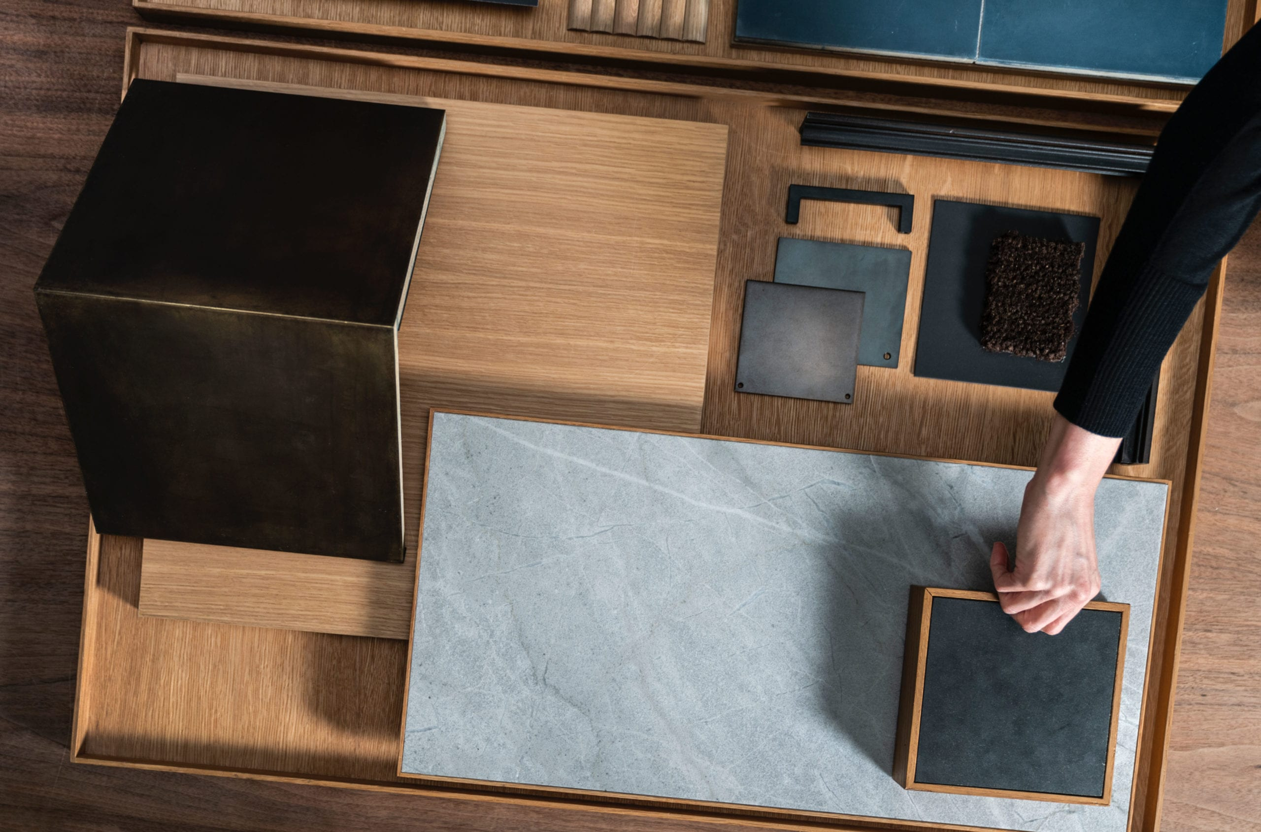 two blue slip floor design sample finishes luxury apartment in greenpoint