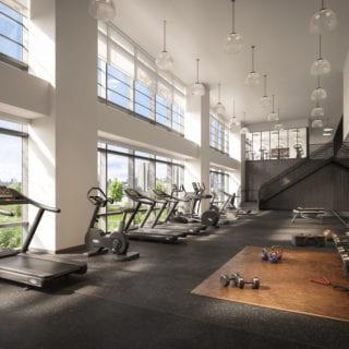treadmill fitness gym with dawn sun shinning through