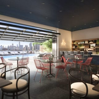 image of two blue slip pool side bar amenities